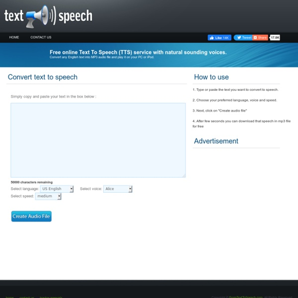 From Text To Speech - Free online TTS service