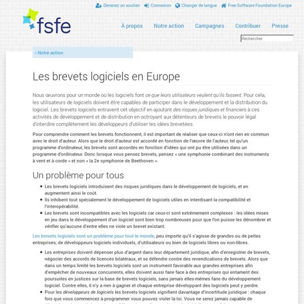 FSFE - Brevets logiciels en Europe