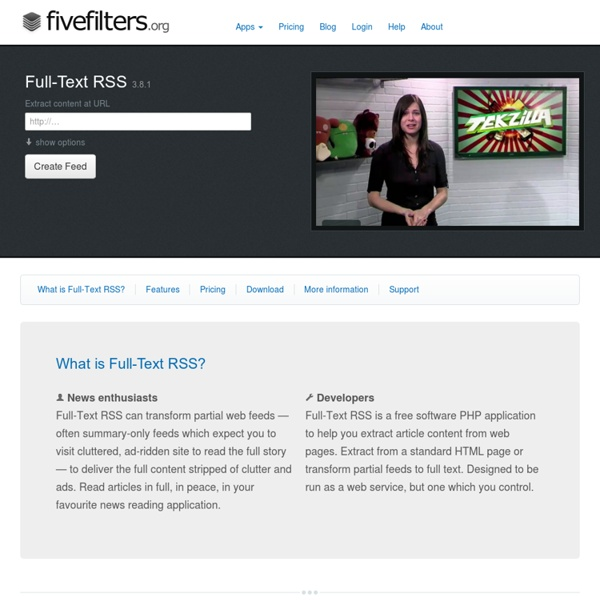 Fivefilters - Full-Text RSS Feeds