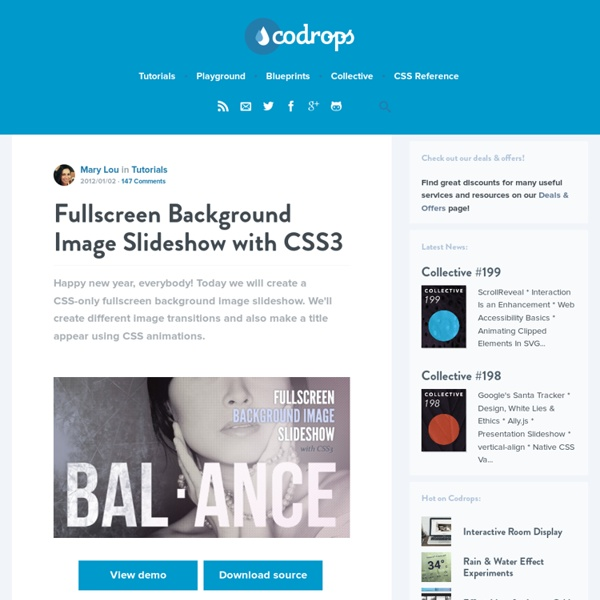 Fullscreen Background Image Slideshow with CSS3