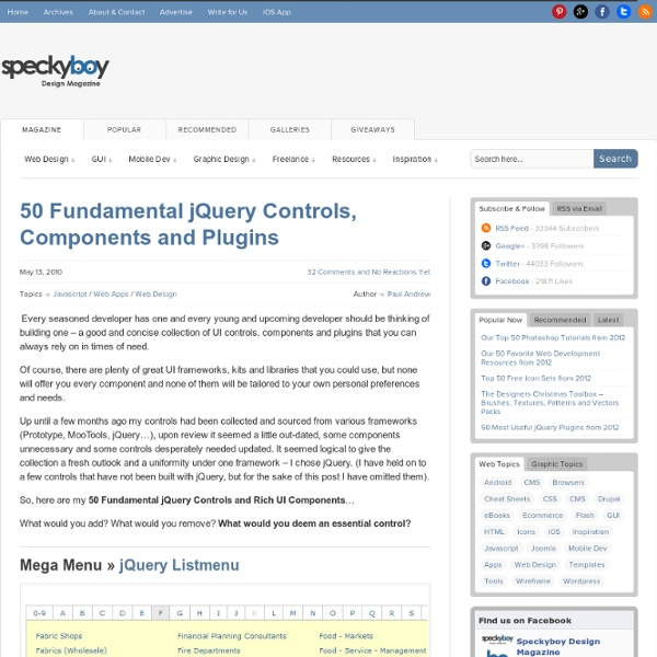 50 Fundamental jQuery Controls, Components and Plugins