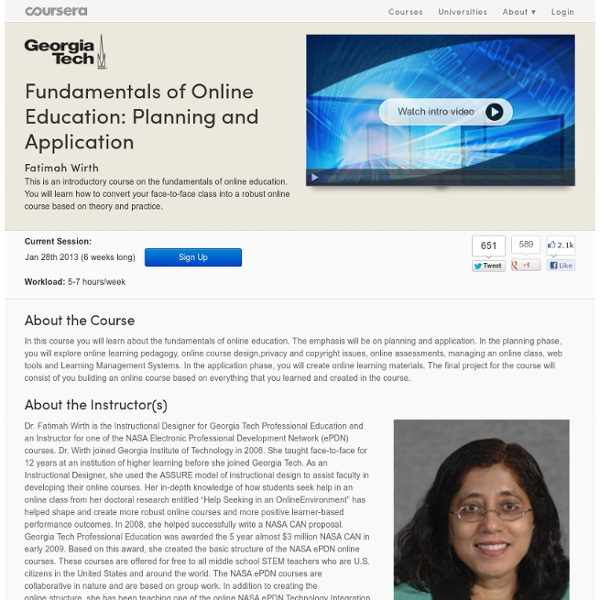 Fundamentals of Online Education: Planning and Application