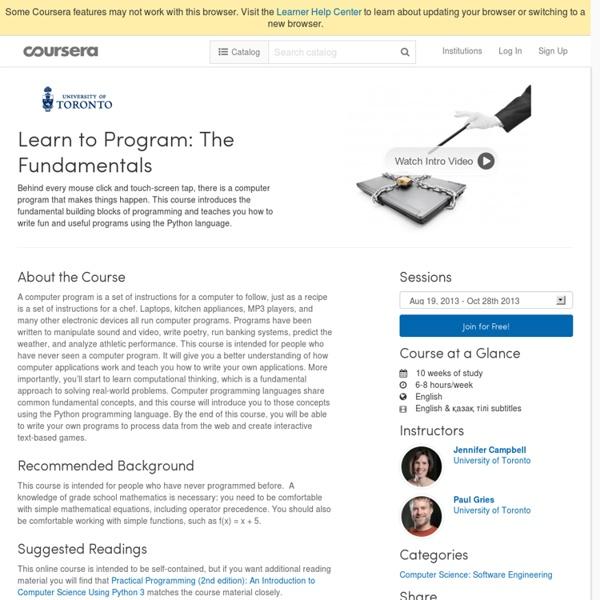 Learn to Program: The Fundamentals - University of Toronto