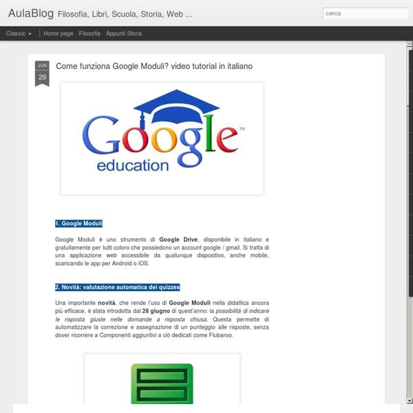 Come funziona Google Moduli? video tutorial in italiano