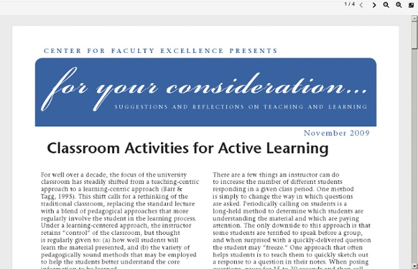 Class Activities for Active Learning