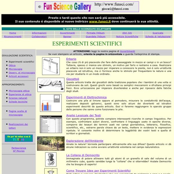 Galleria dello Scienziato Dilettante - Attività diverse