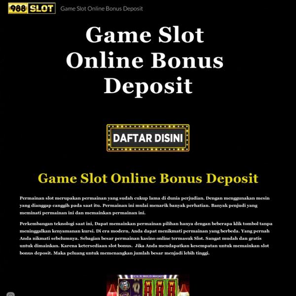 Game Slot Online Bonus Deposit