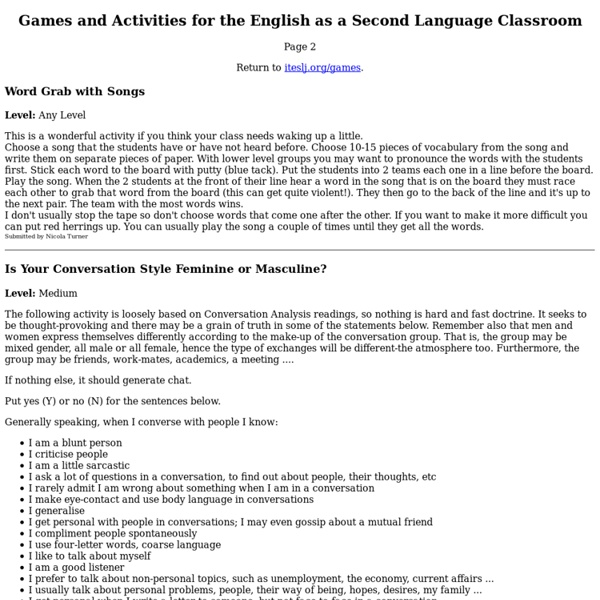 ITESLJ: Great ESL Games