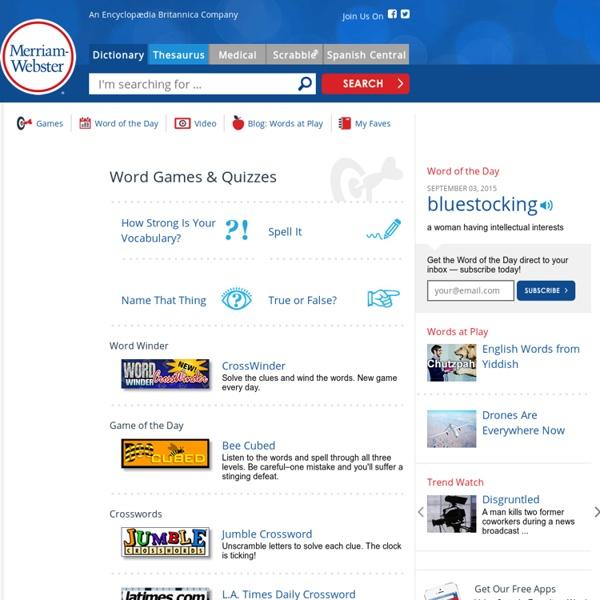 Merriam Webster Qizzes & Games Online