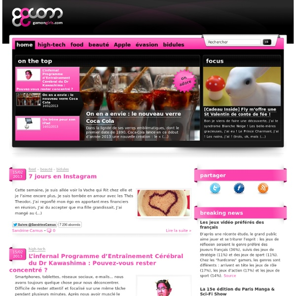 GamonGirls : Le blog des femmes curieuses ! au programme High-tech, Food, Beauté et évasion... Et plus si affinités !