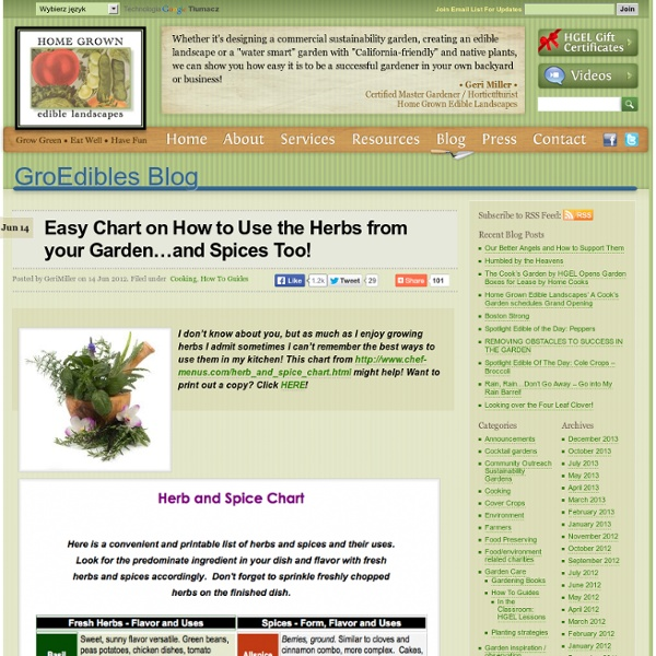 Easy Chart on How to Use the Herbs from your Garden…and Spices Too! « Home Grown Edible Landscapes