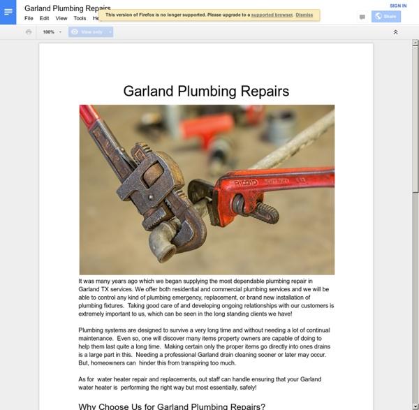 Garland Plumbing Repairs