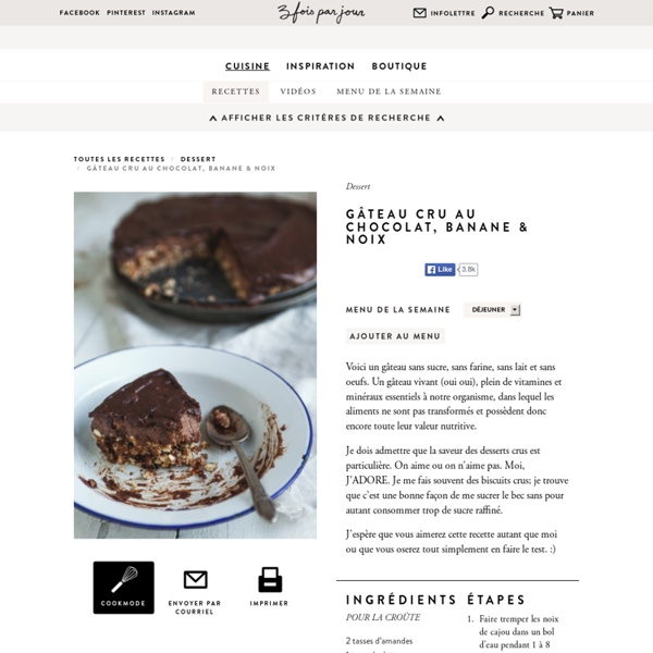 Gâteau cru au chocolat, banane & noix