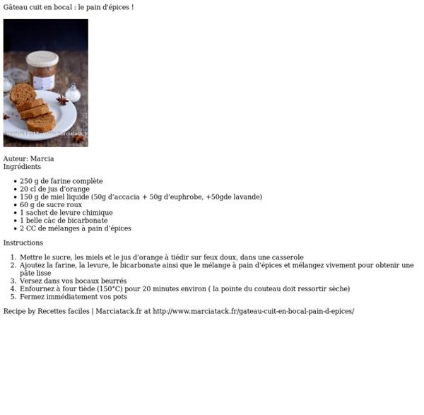 Gâteau cuit en bocal : le pain d'épices !