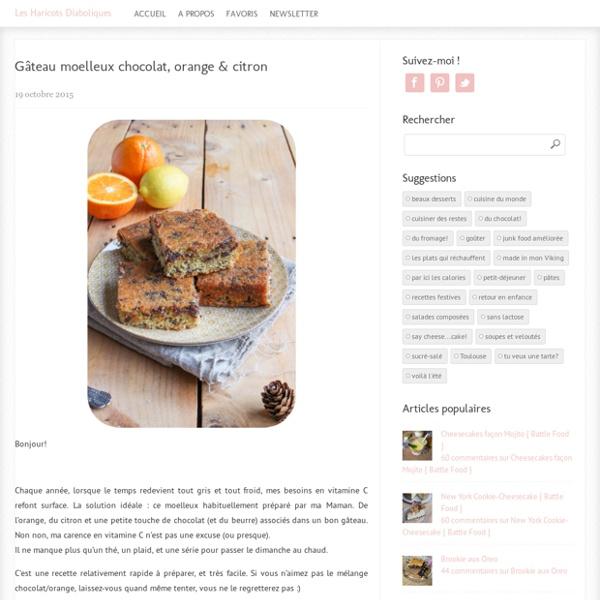 Gâteau moelleux chocolat, orange & citron