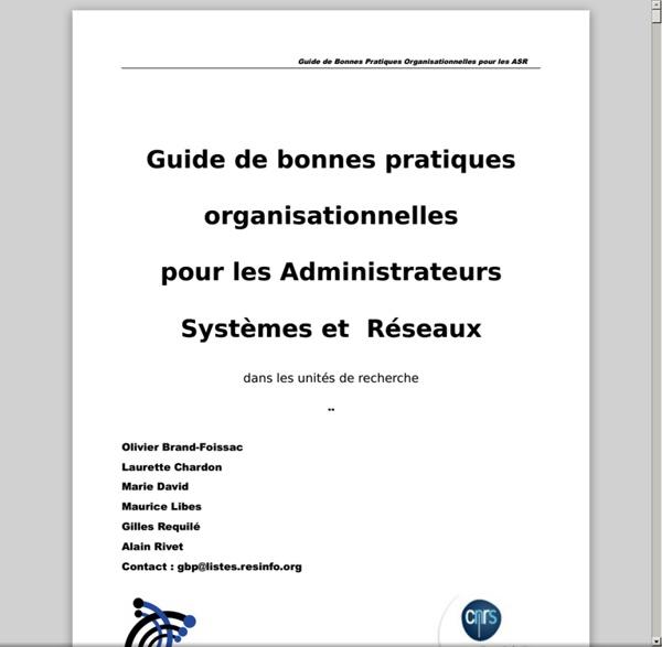 Guide de bonnes pratiques organisationnelles pour les ASR