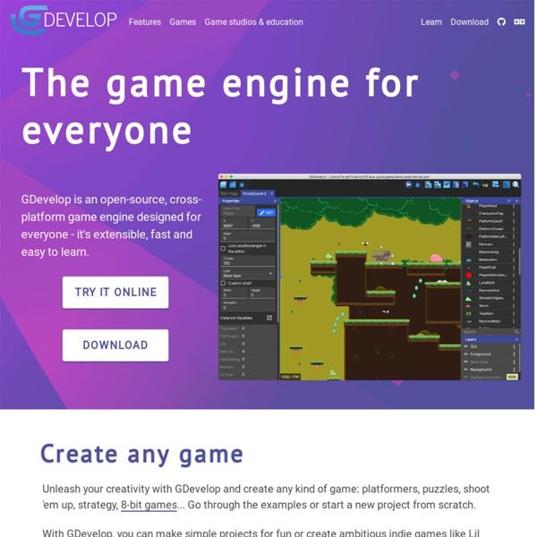 GDevelop - Créez vos jeux sans programmation - Logiciel de développement de jeux HTML5 et natifs open source