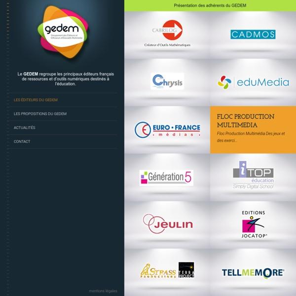 SITE GEDEM : Regroupement des éditeurs d'outils numériques pour l'éducation