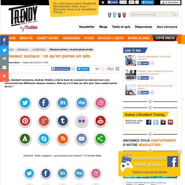 Geekeries : Réseaux sociaux : ce qu'en pense un ado - L'Etudiant Trendy