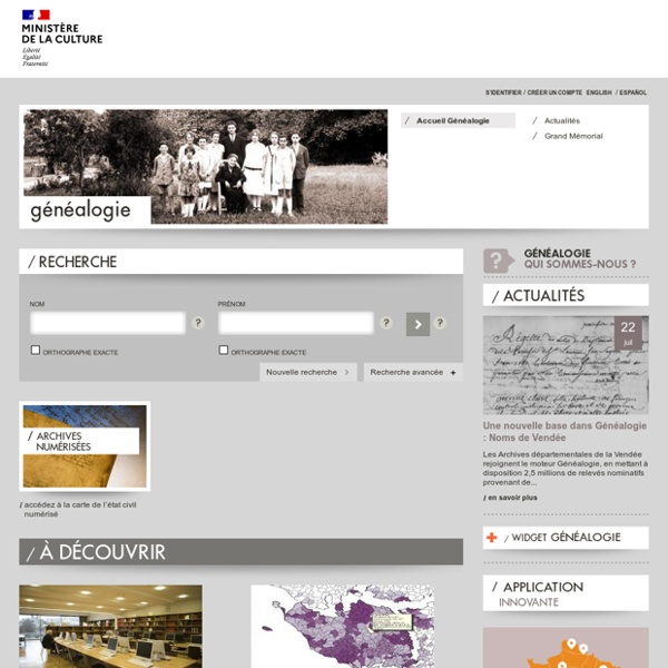 Culture.fr recherche Généalogie