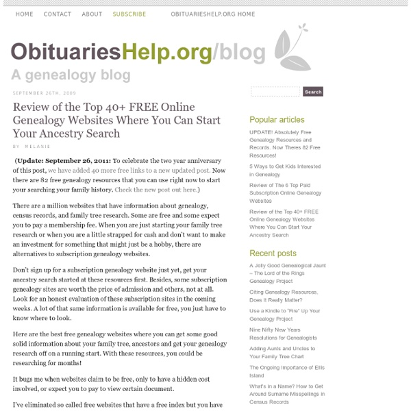 Review of the Top 40+ FREE Online Genealogy Websites Where You Can Start Your Ancestry Search « Obituarieshelp.org/Blog