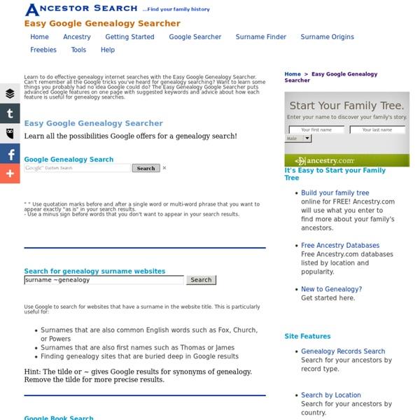 Ancestor Search: Google Genealogy Searcher