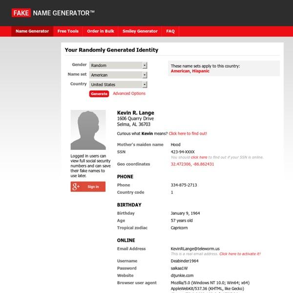 Genera un nome a caso - Fake Name Generator