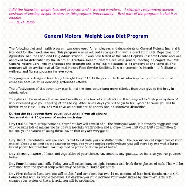 general motors weight loss diet program pearltrees
