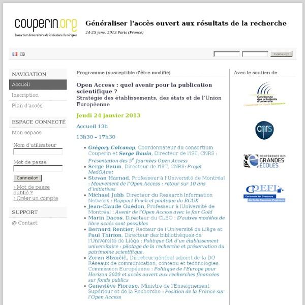 Généraliser l'accès ouvert aux résultats de la recherche - Paris 24-25 janv. 2013 - SciencesConf.org