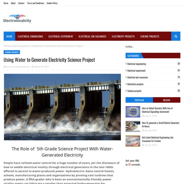 Using Water to Generate Electricity Science Project