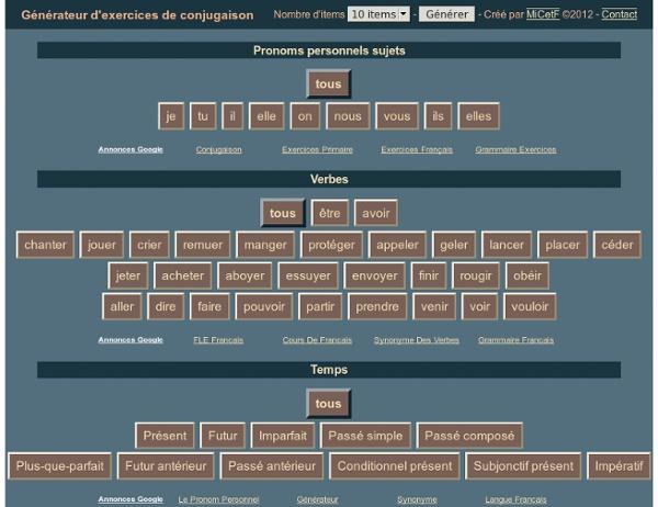 Générateur d'exercices de conjugaison