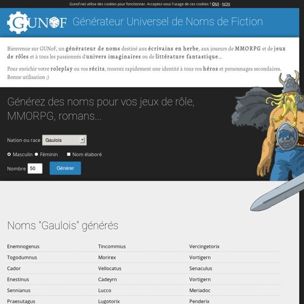 GUNoF - Générateur de noms fantastiques