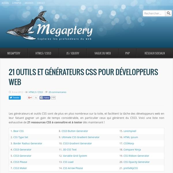 21 outils et générateurs CSS pour développeurs web