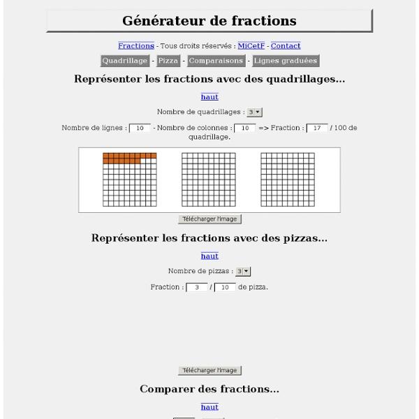 Générateurs de fractions