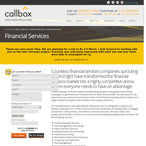 Financial Services Lead Generation and Appointment Setting