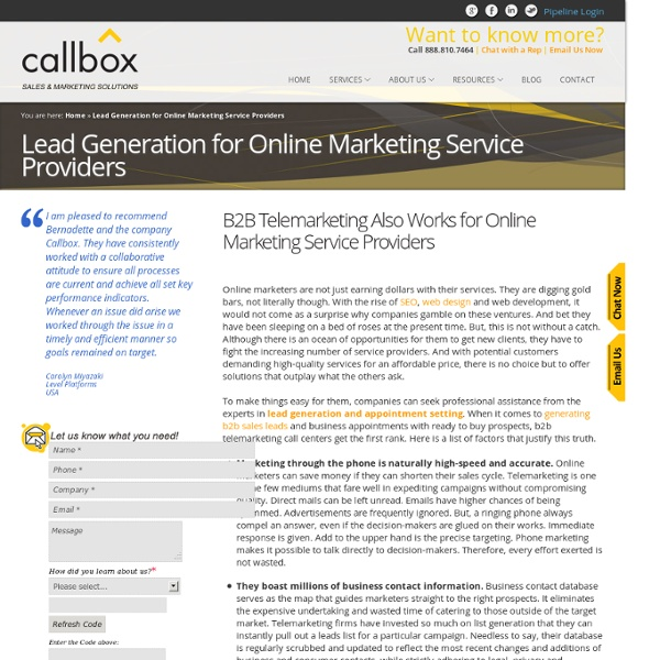 Lead Generation for Online Marketing Services Providers