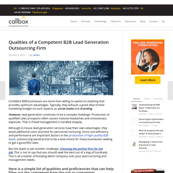 Qualities of a Competent B2B Lead Generation Outsourcing Firm