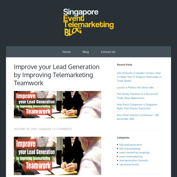 Improve your Lead Generation by Improving Telemarketing Teamwork