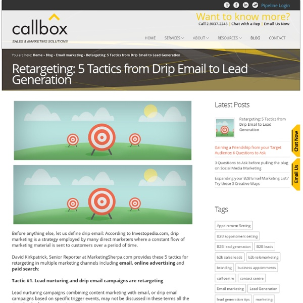 Retargeting: 5 Tactics from Drip Email to Lead GenerationB2B Lead Generation, Appointment Setting, Telemarketing