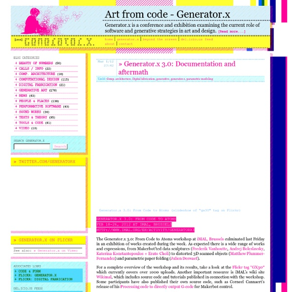 Generator.x: Software and generative strategies in art and design