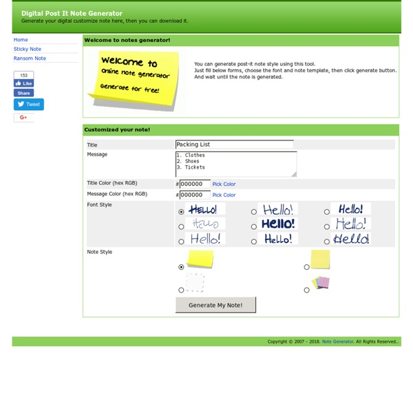 Free post-it Note Generator - web, custom, desktop, personalized, digital post it note