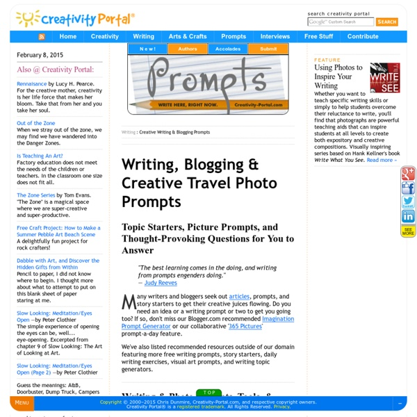 Writing & Blogging Prompts, Story Topic Generators, Photo Inspiration