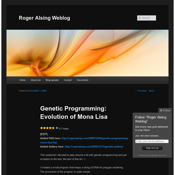 Genetic Programming: Evolution of Mona Lisa « Roger Alsing Weblog