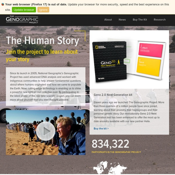 The Genographic Project by National Geographic - Human Migration, Population Genetics