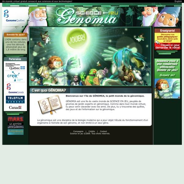 Génomia - Monde virtuel dédié aux sciences et technologies sur SCIENCE EN JEU - Accueil