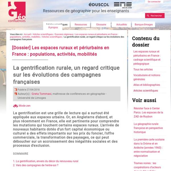 La gentrification rurale, un regard critique sur les évolutions des campagnes françaises