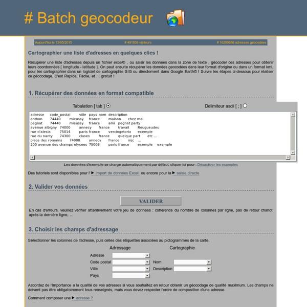 Batch Géocodeur - géocodage google map en français gratuit