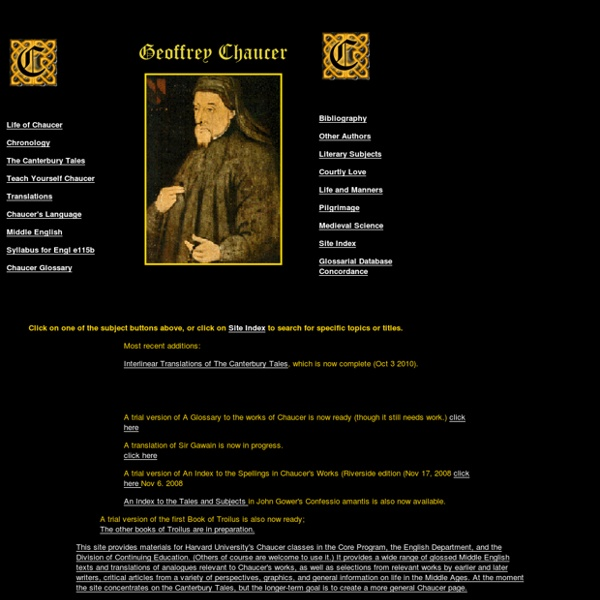The Geoffrey Chaucer Website Homepage