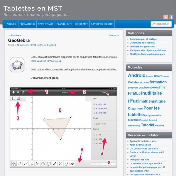 Mode d'emploi GeoGebra pour tablette