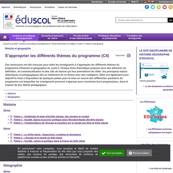Eduscol : les différents thèmes du programme